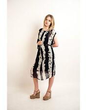 Lady leopard print chiffon oversize tunic shift midi dress long top with zip