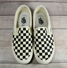 Vans Slip-On Checkerboard Shoes White Black Women's Size 9.5