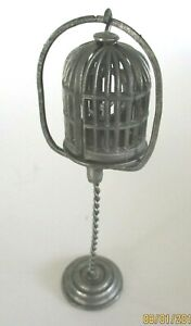 DOLLHOUSE MINIATURE PEWTER BIRDCAGE AND STAND COLONIAL CRAFTSMEN