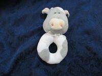 Little Me Plush Gray White Cow Rattle Lovie Baby Toy Circle Farm Animal Soft