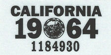 1964 CALIFORNIA Vinyl Sticker License Plate Reg.TAB - CAR-TRUCK-MOTORCYCLE - NEW