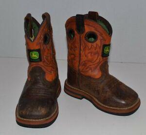 John Deere Dan Post Leather Square Toe Boots Boys Or Girls Infant Size 4 M