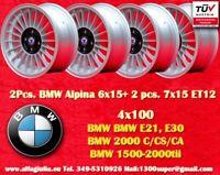 2 Rad BMW Alpine 6x15 + 2 Pcs. 7x15 4x100 E30 E21 Räder Felgen Llantas Jante