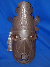 Vtg 1960s Tin Red Glowing Eyes Tiki Bar God Face Wall Art Hanging Mexico Light