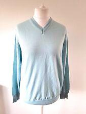 Mens Italian merino wool + silk v-neck jumper M&S COLLEZIONE L pale blue