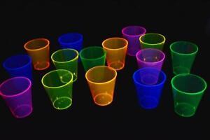 DirectGlow 2oz 50 Count Neon Assorted Blacklight Plastic Shot Glasses Glow Party