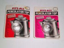 """TWO Tops 135 Fitz-All Replacement Percolator Top 13/16""""-1-1/2"""" Diameter NIP 1980"""