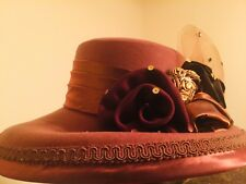 Women's Whittall & Shon 100% Wool Chocolate elegant and Fancy Church hat.