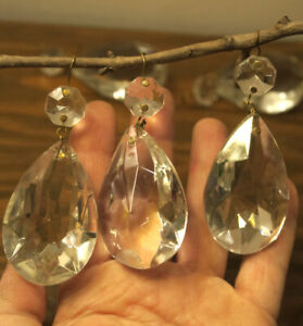 1 Vintage French Teardrop Crystal Glass Prism Lamp Chandelier Part Rainbow