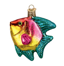 Old World Christmas Tropical Angelfish Aquarium Pet Ornament 12383 Red Yellow