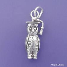 OWL Graduate Charm .925 Sterling Silver School 3-D Pendant - lp4000