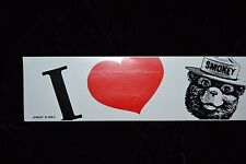 Vintage SMOKEY THE BEAR Bumper Sticker Decal I HEART SMOKEY Starliner NOS