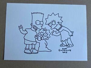 Simpsons original sketch signed autograph by Matt Groening - Bart, Lisa & Maggie