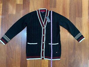 NWT Size Women Medium M 8 10 Tommy Hilfiger Varsity Knit Sweater Cardigan Black
