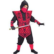 Complete Ninja Costume Red Black Fun World Child Boys L 10-12 NEW!