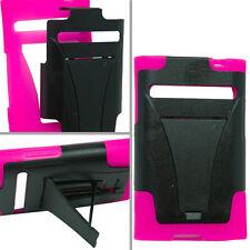 LG Optimus Logic L35G Advanced HYBRID KICK STAND Rubber Case Cover Black Pink