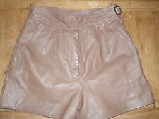 vintage high waist leather shorts size 10 pleated front chocolate brown