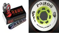 Roller Derby Wheels set of 8 Poison / BONES REDS 8 mm