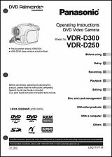 Panasonic DVD Palmcorder Camera VDR-D250  VDR-D300 Operation User Guide