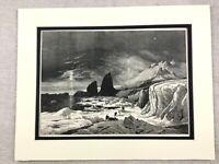 1875 Antico Stampa Artico Polar Landscape Icebergs Corona Prince Rudolf Island