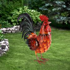 Metal Rooster Decor Garden Statue Outdoor Chicken Sculpture Yard Art Kitchen