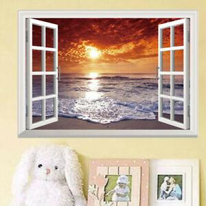 Sunset Ocean Beach Landscape 3D Window Wall Sticker Wall Decal Bedroom Decor