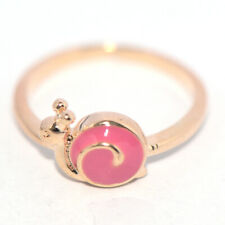 safety gold ring for baby kids children little girls jewelry snail rings Pink