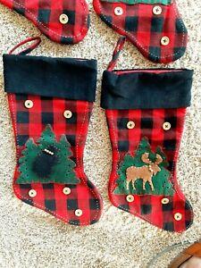 "2 BUFFALO PLAID CHRISTMAS Stockings 18"" × 9""  Christmas Cabin decor MOOSE + BEAR"