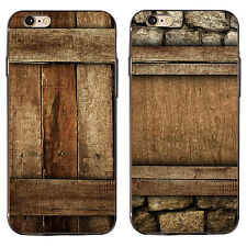 HK- 3D Wood Grain Print Case Cover for iPhone 5C 7 Samsung Galaxy S6 S7 Plus Pea