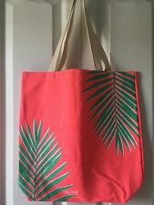 NWT Old Navy Coral Tropical Palm Leaf Canvas Tote Bag