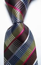 New Checks Blue Brown White Yellow Pink JACQUARD WOVEN Silk Men's Tie Necktie