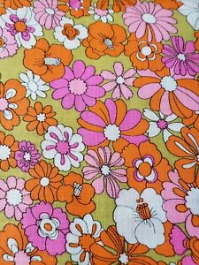 Vintage MCM MOD Linen Fabric 41x82 Flower Print Pink Orange Very 70s