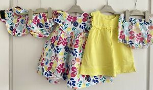 Baby Girls 6-9 Months Matching Bundle Dress, Top, Bloomers Hat Colourful Summer