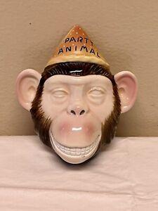 "Vintage 1986 Vandor Monkey Porcelain Wall Mask Pelzman Designs Made Japan 5"""