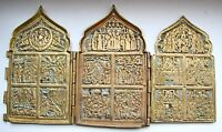 Antique Russian Ortodox 19th Century Enamel Brass 3-Folds Skladen Icon