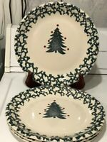 "Set of 4 Winter Wonderland by Tienshan Plates 10 3/8"" Spongewear Green"