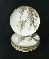Set of 5 Vintage Koshida Saucers Ivory with Cherry Blossom Gold Accent