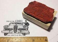 Edsel Car RUBBER STAMP - image based on Ad copy 1959 never before a car like it