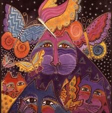 Laurel Burch.Dramatic Cats With Butterflies,Art Deco Design,Blank Note Card