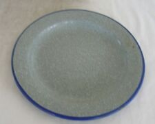 Vintage Enamel Gray Plate with white and blue speckles and blue rim