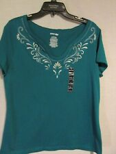 ST. JOHN'S BAY-L-S/S GREEN TOP -100% COTTON-NEW WITH TAG