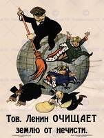 PROPAGANDA COMMUNISM LENIN ANTI CAPITALIST REVOLUTION SOVIET RETRO POSTER 1950PY