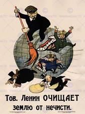 Propaganda Comunismo Lenin ANTI capitalista rivoluzione sovietica Retrò Poster 1950py