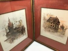 Mads Stage Hofbräuhaus Watercolor Print Double Matte Framed Signed Set Of 2