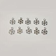 Snowflake Charms 10pcs Tibetan Silver