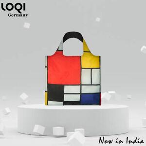 LOQI Tote Bag colourful Composition Reusable shopping canvas bag, Piet Mondrian