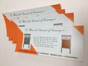 BOGALUSA LOUISIANA WHITE WOOD WASH BOARD ADVERTISING BLOTTER WHOLESALE LOT (4)