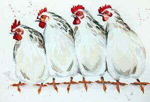 "Chickens New watercolor original 5""x7"" birds art by Anne Gorywine"
