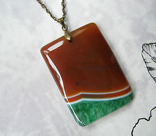 Crystal Necklace Orange Green Druzy Natural Agate Stone Large Gift Newage Bronze