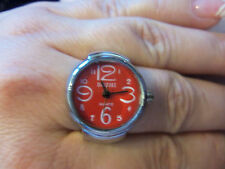 New Quartz Silver Tone Stretch Adjustment Finger Watch Ring With RED Face